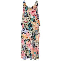 Connected Apparel Womens Tiered Midi Dress