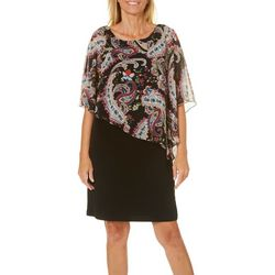 Connected Apparel Womens Paisley Slit Sleeve Poncho Dress