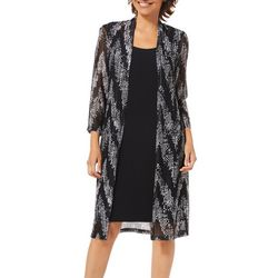 Connected Apparel Womens Chevron Print Jacket Dress
