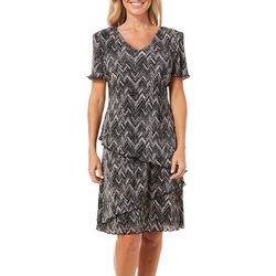 Connected Apparel Womens Chevron Bodre Tiered Dress