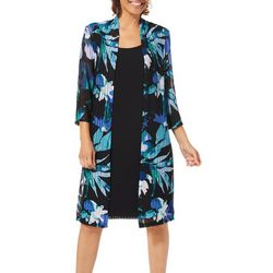 Connected Apparel Womens Floral Print Jacket Dress