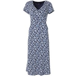 Perceptions Womens Floral Puff Print Short Sleeve Dress