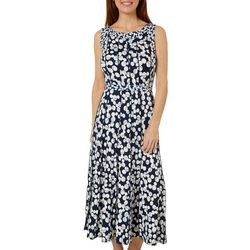Womens Sleeveless Dotted Print Tie Waist Dress