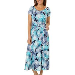 Womens Floral Puff Print Buckle Waist Dress