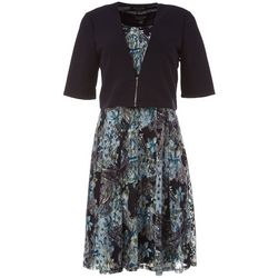 Perceptions Womens Paisley Print Solid Jacket Dress