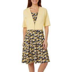 Perceptions Womens Floral Design Solid Jacket Dress