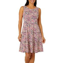 Perceptions Womens Tiered Polka Dot Puff Print Dress