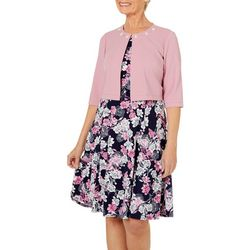 Perceptions Womens Jeweled Floral Jacket Dress