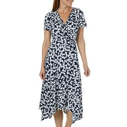 Perceptions Womens Dotted Faux-Wrap Dress