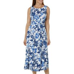 Perceptions Womens Ruched Floral Panel Dress