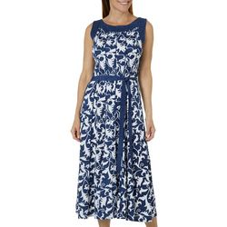 Perceptions Womens Scroll Print Tie Waist Panel Dress