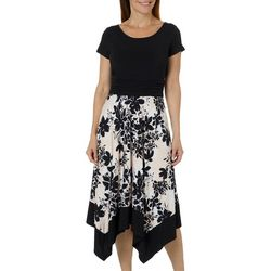 Perceptions Womens Ruched Floral Handkerchief Hem Dress