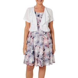 Perceptions Womens Floral Lace Print Jacket Dress