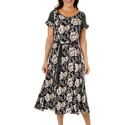 Perceptions Womens Short Sleeve Puff Print Tie Waist Dress
