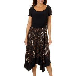 Perceptions Womens Short Sleeve Ruched Animal Print Dress