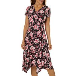 Perceptions Womens Floral Puff Print Sharkbite Hem Dress
