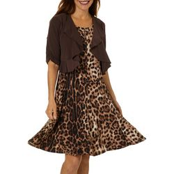Perceptions Womens Leopard Print Solid Jacket Dress