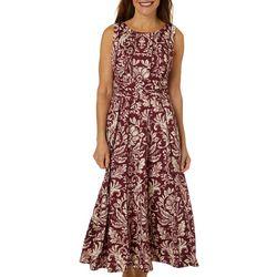 Perceptions Womens Ruched Scroll Print Panel Dress