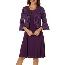 Perceptions Womens Glitter Bell Sleeve Jacket Dress