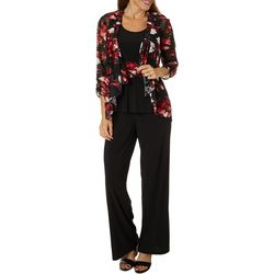 Perceptions Womens 3-pc. Floral Lace Pant Suit
