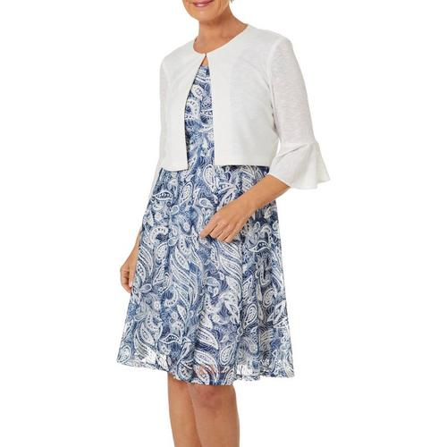 Perceptions Womens Floral Paisley Lace Jacket Dress