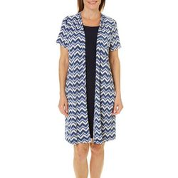 Perceptions Womens Scratched Chevron Jacket Dress