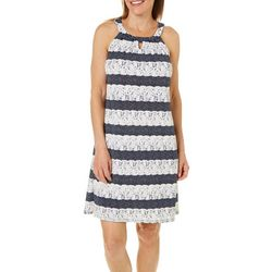Perceptions Womens Dotted Faux Lace Striped Dress
