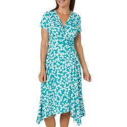 Perceptions Womens Polka Dot Sharkbite Hem Wrap Dress