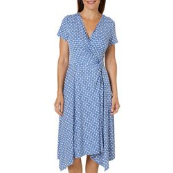 Perceptions Womens Dot Puff Print Sharkbite Hem Wrap Dress