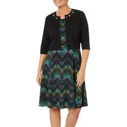 Perceptions Womens Jeweled Chevron Jacket Dress