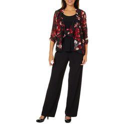 Perceptions Womens 3-pc. Floral Lace Pant Set