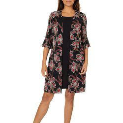 Perceptions Womens Floral Print Jacket Dress