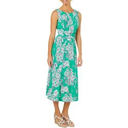 Perceptions Womens Ruched Floral Frenzy Panel Dress