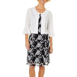 Perceptions Womens Lace Floral Puff Print Jacket Dress