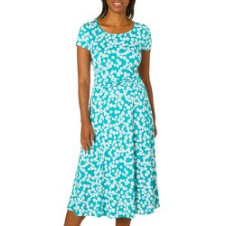 Perceptions Womens Dotted Twist Waist Dress
