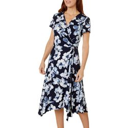 Perceptions Womens Floral Puff Print Tie Wrap Dress