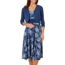 Womens Floral Print Solid Jacket Dress