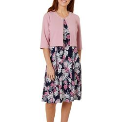 Perceptions Womens Floral Puff Print Solid Jacket Dress