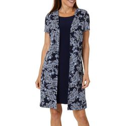 Perceptions Womens Paisley Puff Print Duet Dress