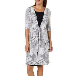 Perceptions Womens Floral Puff Print Tie Front Duet Dress