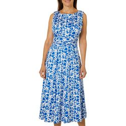 Perceptions Womens Ruched Leaf Print Panel Dress