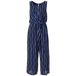 Luxology Womens Striped Tie Front Sleeveless Jumpsuit