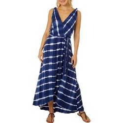 Luxology Womens Sleeveless Stripe Tie Dye Wrap Dress