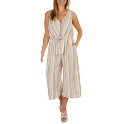 Luxology Womens V-Neck Crop Striped Jumpsuit