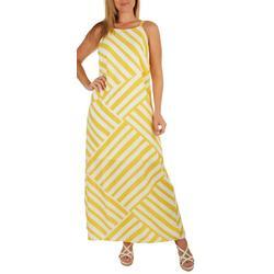 Womens High Neck Striped Maxi Dress