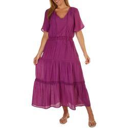 Womens Smocked Ruffle Sleeve Dress