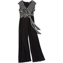 Luxology Womens Striped Tie Waist Wrap Jumpsuit