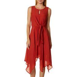 Luxology Womens Solid Tie Front Handkerchief Dress