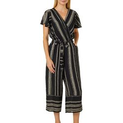 Luxology Womens Mixed Stripe V-Neck Jumpsuit