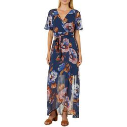 Luxology Womens Floral Print Wrap Maxi Dress